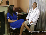 Slutty nurse was spanked by kinky doctor