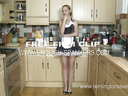 Perverted employer punished maid in the kitchen