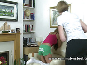 Hard butt spanking from mom for her daughter