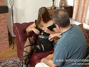 Perverted old man spanked slut in stockings