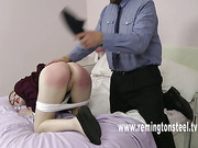 Young sexy blonde spanked by old guy