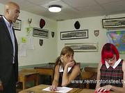 Two sexy schoolgirls got punishment from kinky teacher