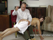 Employer spanked his hot brunet maid