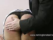 Chubby blond slut got ass beaten rough