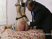 Chubby blond slut got ass beaten rough