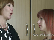 Redhead teen slut spanked by mature English mistress