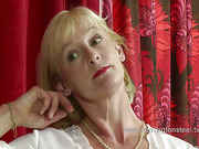 Mature blond whore OTK spanked by dude