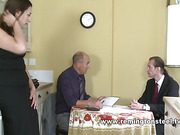 Sexy brunette was abused by two cruel dudes