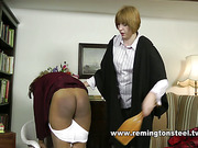 Teens with bushy cunts got spanked by MILF