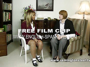 Sexy young blonde was caned by nude MILF