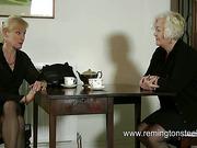 MILF in black nylons got hard spanking from granny