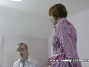 Mature slut abused young blonde with spanking