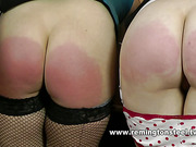 Two sluts in lingerie brutally spanked by grandma