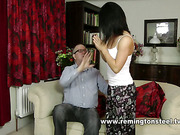 Hot brunette seduced and spanked by oldman