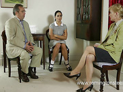Young brunette OTK spanked by grandma and oldman