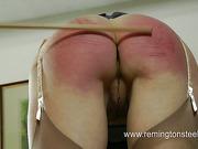 Pervert brutally caned blond slut at home