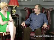 Blond chubby MILF paddled by old guy