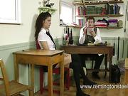 Kinky sadistic teacher spanked schoolgirls in class