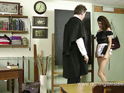 New young maid spanked by perverted employer