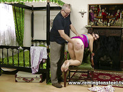 Perverted daddy spanked young nerdy brunette