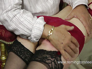 Kinky blond MILF enjoyed rough spanking