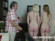 Two pretty teens spanked by lucky old dude