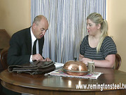 Curvy blonde spanked by master in the office