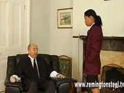 Ebony schoolgirl OTK spanked by master at home