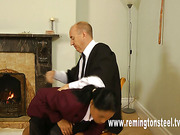 Ebony schoolgirl OTK spanked by master at home