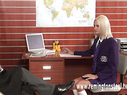 Teacher spanked a blond schoolgirl