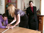 Tied guy and girl caned by mistress