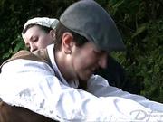 Ass of bad male gardener got open-air whipping