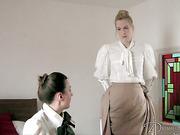 Lesbian OTK spanking from mistress in Edwardian style