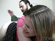 OTK spanking for teen babe from bearded dude