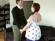 Fat girlfriend and guy caned each other