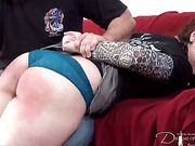 Spanking and caning for two girls from dude
