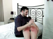 Hubby spanked his slutty wife hard with hairbrush