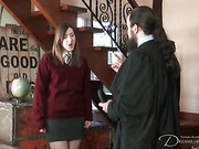 Horny brunette asked perverted guy for good spanking