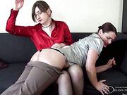 Slaveslut OTK spanked by Pandora and Thomas