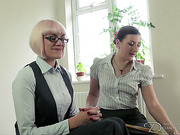 Lesbian perverts cane and punish each other