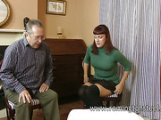 Brunette and old guy in domestic spanking porn