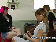 Headmistress spanked bent girl with leather slipper