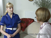 Mature lesbo mistress spanked her maid
