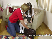 Mature blonde spanked teen to red ass