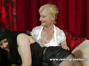 Hot brunette got domestic spanking from two sluts