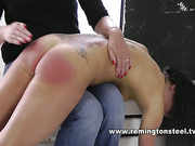 Tattooed slut got bottom red after spanking set