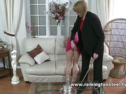 Naughty daughter caned by mom at home