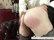 Redhead bitch fucked herself with dildo while punishment