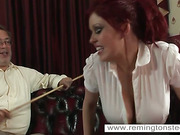 Crazy redhead slut will surely be caned