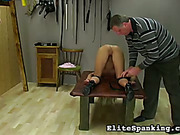 Wet pussy and tight asshole were spanked